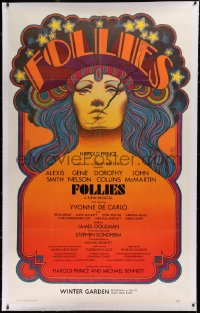 2a106 FOLLIES linen 40x64 stage poster 1971 cool art by David Edward Byrd, Sondheim, Broadway!