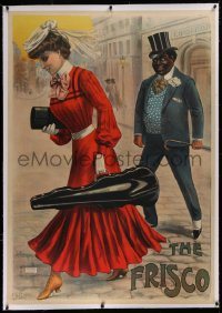 2a130 FRISCO linen 38x54 French special poster 1905 Galice art of man watching woman w/violin case!
