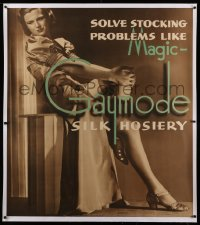2a107 GAYMODE linen 43x48 advertising poster 1930s solve silk hosiery stocking problems like magic!