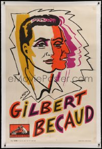 2a135 GILBERT BECAUD linen 31x47 French music poster 1950s great Kiffer art of the French singer!