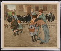 2a108 JULES ADLER linen 32x40 special poster 1905 art of parents saying goodbye to children!