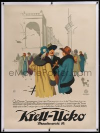2a115 KRELL-UCKO linen 35x47 German advertising poster 1920s Bender art of crowd on city street!