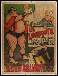 2a128 LA LOUPIOTE linen 47x62 French stage poster 1900s great d'apres Francisque Poulbot circus art!