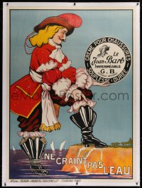 2a141 LE JEAN BART linen 46x62 French advertising poster 1930 naval commander art for boot cream!