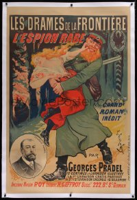 2a140 L'ESPION RABE linen 37x55 French advertising poster 1890s Pradel, Ernest Clair-Guyot art!