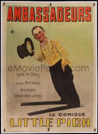 2a129 LITTLE PICH linen 35x49 French stage poster 1910s great art of the comedian with giant shoes!