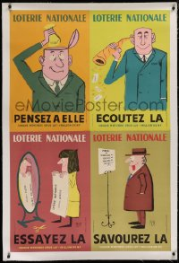 2a132 LOTERIE NATIONALE linen 31x40 French special poster 1961 contains 4 different posters by Piem!