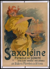 2a145 SAXOLEINE linen 35x49 French advertising poster 1895 Jules Cheret art of woman w/lamp, rare!