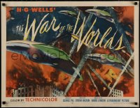 2c003 WAR OF THE WORLDS style B 1/2sh 1953 HG Wells, George Pal, superb warships art, ultra rare!
