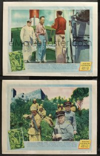 3g0674 AFRICAN QUEEN 2 LCs 1952 Humphrey Bogart facing noose on ship + soldiers in the jungle!