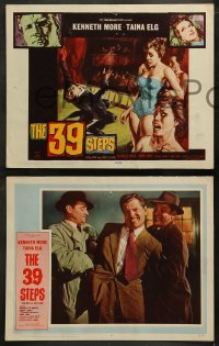 3g0046 39 STEPS 8 LCs 1960 Kenneth More, Taina Elg, English crime thriller, w/ cool TC art!