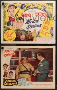 3g0050 AFRICA SCREAMS 8 LCs 1949 great art of Bud Abbott & Lou Costello in jungle with animals!