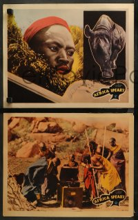 3g0484 AFRICA SPEAKS 5 LCs 1930 jungle documentary, really cool wildlife image, ultra-rare!