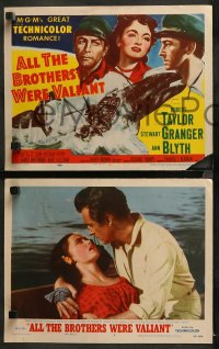3g0056 ALL THE BROTHERS WERE VALIANT 8 LCs 1953 Robert Taylor, Stewart Granger, whaling!