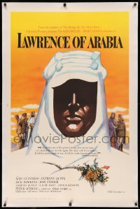 3j0331 LAWRENCE OF ARABIA linen pre-awards 1sh 1962 David Lean, Kerfyser silhouette art of O'Toole!
