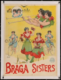 3j0100 BRAGA SISTERS linen 23x32 French stage poster 1894 Henri Paolo art of the talented performers!
