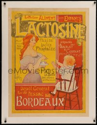 3j0133 LACTOSINE linen 23x31 French advertising poster 1899 Malzac art, kids' phosphated milk flour!