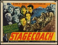 3k0036 STAGECOACH 1/2sh 1939 montage of John Wayne, cast, stage & horses, John Ford, ultra rare!