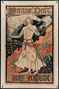 4c0056 JEANNE D'ARC linen 29x47 French stage poster 1890s Eugene Grasset art of the French heroine!