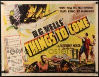 4d0132 THINGS TO COME 1/2sh 1936 William Cameron Menzies, H.G. Wells, great sci-fi art, ultra rare!