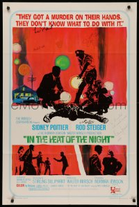 4p0087 IN THE HEAT OF THE NIGHT signed 1sh 1967 by Poitier, Wexler, Steiger, Jewison AND Lee Grant!