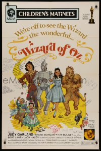 4p0140 WIZARD OF OZ signed 1sh R1972 by Ray Bolger, Jack Haley, Maren, Hamilton & SIXTEEN others!