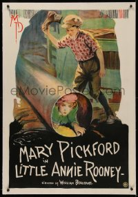 4y0123 LITTLE ANNIE ROONEY linen 1sh 1925 great full art image of Mary Pickford hiding in pipe, rare!