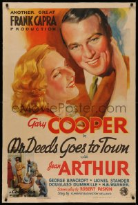 4y0142 MR. DEEDS GOES TO TOWN linen style B 1sh 1936 art of Gary Cooper & Jean Arthur, Capra, rare!