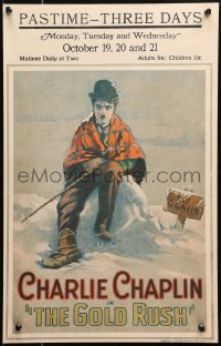 4z0179 GOLD RUSH WC 1925 great art of Charlie Chaplin freezing in the snow by his claim, ultra rare!
