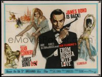 5a0001 FROM RUSSIA WITH LOVE linen British quad 1964 Fratini art of Sean Connery & sexy Bond girls!