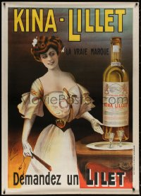 6a0477 KINA-LILLET 40x55 French advertising poster 1890s woman with fan and huge bottle, ultra rare!