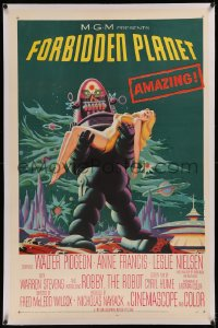 6j0103 FORBIDDEN PLANET linen 1sh 1956 most classic art of Robby the Robot holding sexy Anne Francis!