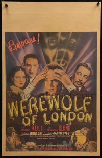 6k0028 WEREWOLF OF LONDON WC 1935 Henry Hull, Hobson & Oland in 1st Universal wolfman, ultra rare!