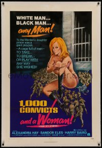 6y0006 1000 CONVICTS & A WOMAN linen 1sh 1971 sexy blonde nympho Alexandra Hay would take any man!