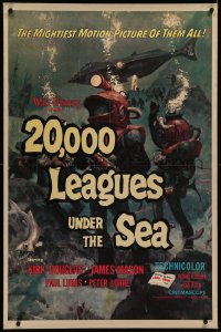 6y0008 20,000 LEAGUES UNDER THE SEA linen 1sh R1971 Jules Verne classic, great art of deep sea divers!