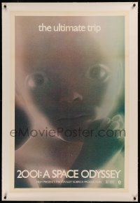 6y0007 2001: A SPACE ODYSSEY linen 1sh R1971 Stanley Kubrick, star child c/u, rare added color!