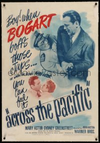 6y0010 ACROSS THE PACIFIC linen 1sh 1942 when Humphrey Bogart kisses Astor, you can feel it, rare!