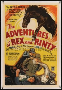 6y0012 ADVENTURES OF REX & RINTY linen whole serial 1sh 1935 art of horse & German Shepherd dog, rare!