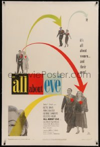 6y0016 ALL ABOUT EVE linen 1sh 1950 Bette Davis, Anne Baxter, Marilyn Monroe shown, cool design!