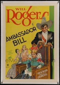 6y0019 AMBASSADOR BILL linen 1sh 1931 Fox stone litho of Will Rogers with young king on throne, rare!