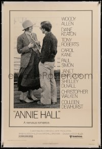 6y0024 ANNIE HALL linen 1sh 1977 full-length Woody Allen & Diane Keaton in a nervous romance!