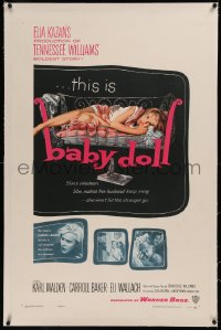 6y0027 BABY DOLL linen 1sh 1957 Elia Kazan, classic image of sexy troubled teen Carroll Baker!