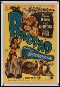 6y0029 BAGDAD linen 1sh 1950 art of Maureen O'Hara in sexiest harem outfit + Vincent Price on horse!