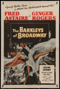 6y0030 BARKLEYS OF BROADWAY linen 1sh 1949 art of Fred Astaire & Ginger Rogers dancing in New York!