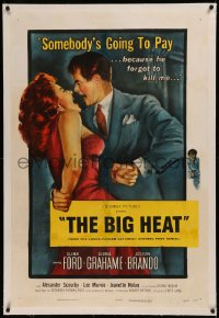 6y0032 BIG HEAT linen 1sh 1953 great pulp art of Glenn Ford & sexy Gloria Grahame, Fritz Lang noir!