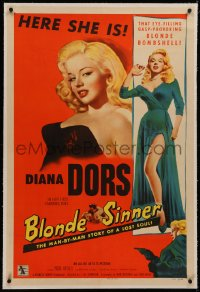 6y0039 BLONDE SINNER linen 1sh 1956 sexy eye-filling gasp-provoking blonde bombshell Diana Dors!