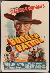 6y0040 BORDER PATROL linen 1sh 1943 great art of William Boyd as Hopalong Cassidy, Andy Clyde
