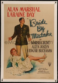 6y0044 BRIDE BY MISTAKE linen 1sh 1944 soldier Alan Marshal doesn't know Laraine Day is an heiress!