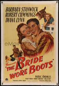 6y0045 BRIDE WORE BOOTS linen 1sh 1946 great art of Barbara Stanwyck & Robert Cummings + race horse!