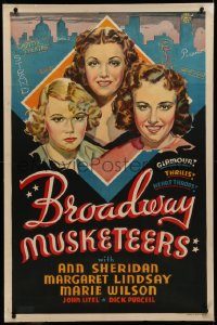 6y0046 BROADWAY MUSKETEERS linen Other Company 1sh 1938 art of Ann Sheridan & girls in New York, rare!